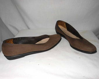 Wedge Flats Salvatore Ferragamo Pumps Ribbed Brown Leather Ballet Pointy 9 3A