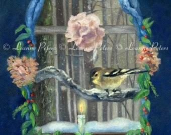 """Sign of Light 8"""" x 10"""" Archival Print by Leanne Peters - Bird Art - Window Art - Winter Art"""
