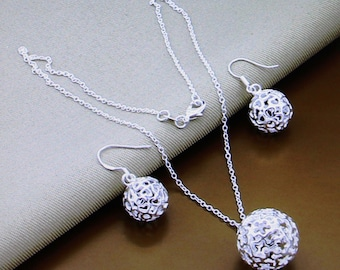 Fashion Beads Ball Bridal Jewelry Sets Silver Plated Pendant Necklace & Long Drop Earrings for Women Wedding Bride Jewelry