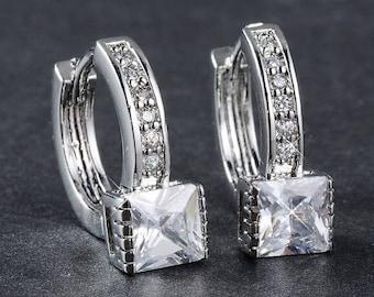 Elegant Woman Jewelry Silver Plated  Zircon Square Earrings