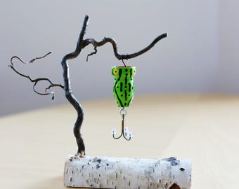 """Fishing Lure, Topwater Lure, Bass Popper, Handcrafted, handpainted, custom 3/4 X 1 1/2"""" bass popper fishing lure"""