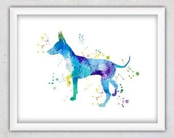 Dog Art, Instant Download Dog Art, Miniature Pinscher Print, Dog Printable, Nursery Wall Art, Watercolor Art, Digital Print, Downloadable