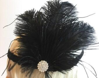 SALE - Black feather flapper girl headband, Great gatsby head piece, roaring 1920, headband, downton abbey