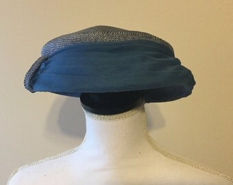 Vintage blue woven pillbox hat