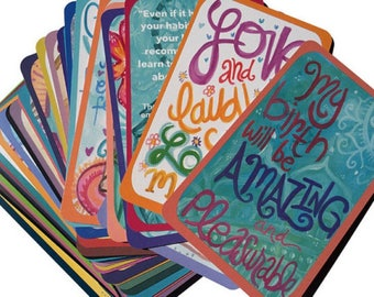 WHOLESALE- 10 Decks of Birth Preparation Cards with Visuals and Positive Affirmations for Pregnancy, Labor and Nursing by The Renegade Mama