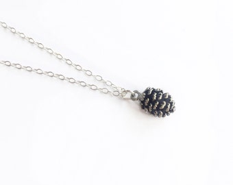 Silver Pinecone Necklace, Pinecone Necklace, Woodland Necklace, Layering Necklace, Fall Jewelry, Pinecone Jewelry, Pinecone Pendant