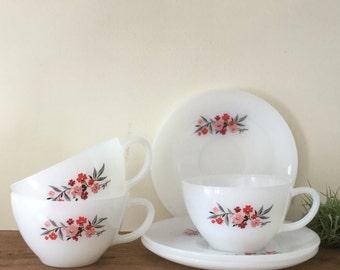 Fire King Milk Glass Teacups & Saucers