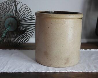 Antique Stoneware Crock, Salt Glazed Crock, Crock Pottery, Kitchen Decor, Farmhouse Decor,
