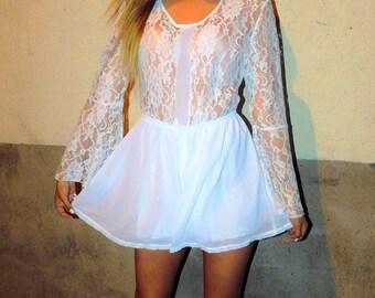 White Chiffon Long Sleeve Flare Lace Romper