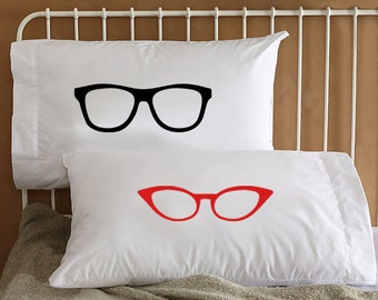 Hipster Glasses His and Hers Pillowcases - Funny - Standard \u0026 King size Cool Couple pillow & Couples pillow cases | Etsy pillowsntoast.com