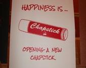 Cherry Chapstick Art Print : Hand Screen Printed, chap stick, screenprint, happy, happiness, new, kitschy, retro, red, lip balm art