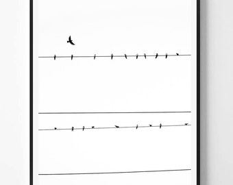 Sky Print, Bird print, Black White Photography, Minimal photo, Sky Wall Art, Minimalist Print, Nature, Scandinavian Printable Art, Modern