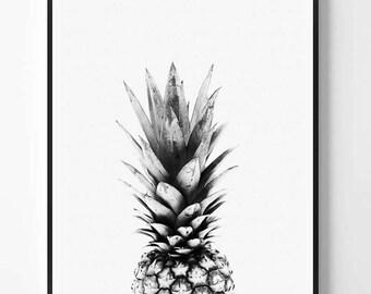 Pineapple Print, Black and White Photography, Minimal photo, Pineapple Wall Art, Photo, Minimalist Print, Scandinavian Printable Art, Modern