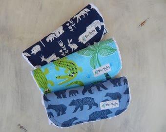 Baby boy burp cloths, Organic burp cloths, Woodland burp cloths, Bears burp cloths, Baby shower gift