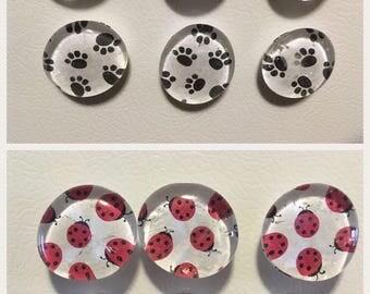 Large pattern fridge magnets- set of 6