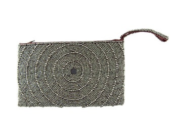 Hand Beaded Clutch. Silver Metallic Wristlet. Made in Bali