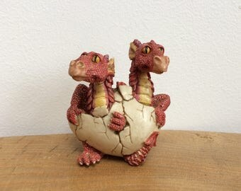 Vintage Twin Red Dragons Hatching from an Egg Figurine, Summit Collwction, W.U. , '97