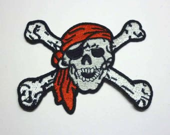 Silver Skull and Crossbones with Red Bandana Black Border Iron on Patch - H378