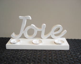 """Joy"" wooden candle holder"