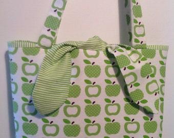 """Handmade Fabric Bag, Eco Bag, Reusable Bag,Gift Bag, Fun Bag, Hobo Bag, """"Bunny Ear"""" Ties."""