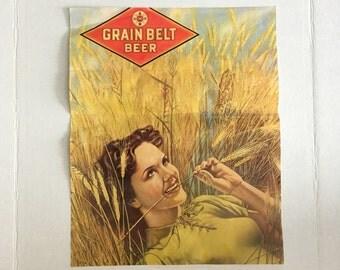 Grain Belt Beer Poster {1975 Minneapolis Brewing Company Grain Belt Brewing Company} Girl in the Barley Field
