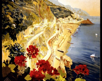 Vintage Travel Poster A4 of Amalfi Italy