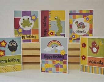 Birthday Cards, Blank, Set of 6, Children, Handmade, Digital Print, Embellishments