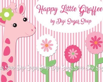 Happy Little Giraffe w/ Flowers - 4 PNG/Vector clipart images - Instant download