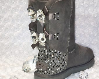 Bling Ugg Bailey Bow II, Women's Custom Grey Ugg Boots Swarovski Crystal Bling Australian Fur Boots, Snow Boots, Bling Boots