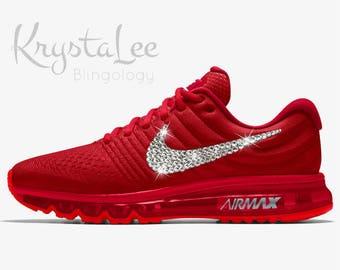 Womens Nike Air Max 2017 iD Red Custom Bling Crystal Swarovski Sneakers, Running  Shoes,