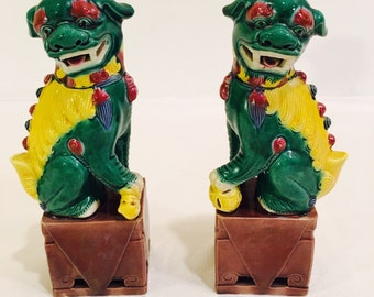 Vintage, Chinese, Porcelain Foo Dogs