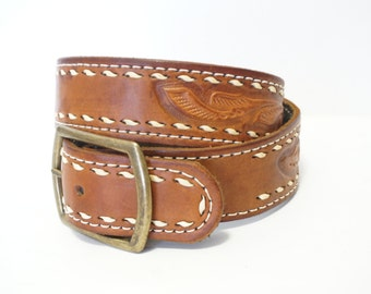 Vintage Mexican Brown Tooled Leather Belt- Womens Size 29- 33