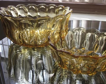 Vintage 1960's Amber Glass Bowls Set of 2