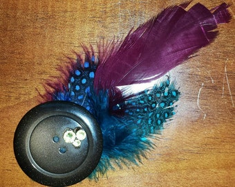 Feathered hair clip with Swarovski accents