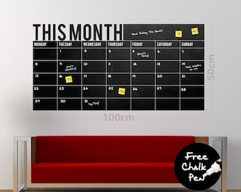 Write & Wipe - Monthly Calendar / Planner / Board - Vinyl Wall Decal / Sticker - Free Chalk Pen Included