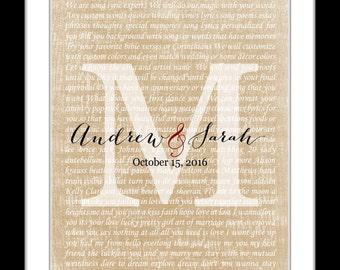 Wedding song lyrics art, personalized wedding gift, anniversary gift. song lyric gift wedding song art wedding song print wedding song gift
