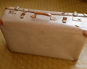Antique brown suitcase, Vintage large luggage, Rare hardboard handbag, Soviet 1950, Original primitive vintage decor, USSR era collectible