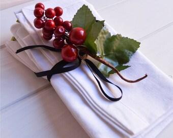 White linen Napkins set 4, cloth napkins, linen napkins, linen napkins, dining room