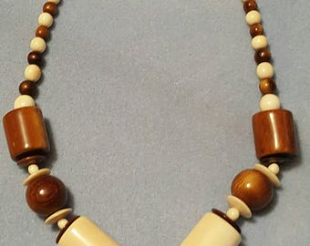 West African wooden beaded necklace