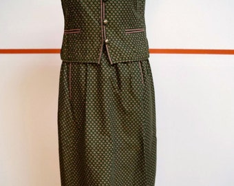Spring Sale 20% OFF 70's Rare Wool 2 pc Outfit, Gorgeous Dirndl Trachten Dress Oktoberfest Women's size 6 EUR 38, Olive Green Outfit