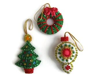 "Vintage Handmade Christmas Ornaments Wreath Christmas Tree Bulb 2.5"""