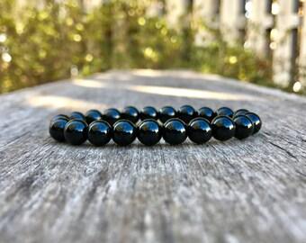 Shungite Bracelet Handmade 8mm Genuine Shungite Beaded Gemstone Bracelet Black Stone Bracelet Stack Bracelet Healing & Purifying Bracelet