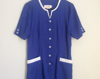 Mod shift dress, 60s, button down, pockets, Pan Am chic, S-M, *vintage*