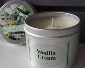 Natural Vanilla fragrant Soy wax handmade aromatherapy candle, pulse point oils, room freshener. Vegan and eco friendly natural wax candle
