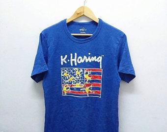 Hot Sale!!! Rare KEITH HARING American Flag Pop Art T-Shirt Hip Hop Skate Swag Medium Size