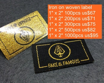 100-1000 pcs Custom Woven Iron on labels, name labels, iron-on clothing labels, iron on clothing label, personalized heat adhesive label