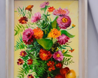 Original oil painting, art, drawing, gift, wildflowers, marigolds, vase of flowers, fiberboard, birthday gift