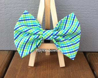 Bright blue and green dog bow tie