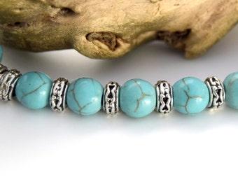 Turquoise gemstone beads synthetic round 8 mm - CREATIST - sky blue beads 8mm bead gemstone