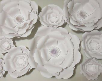 "Giant Paper Flowers set of 9 white Wedding Flower Wall Rose Nursery decor Bridal shower 3D flower background birthday 6-16"" photo backdrop"